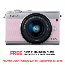 CANON EOS M100 PINK WITH 15-45MM LENS [ONLINE PRICE]
