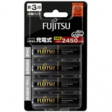 FUJITSU 4'S AA 2450MAH 500 CYCLES HIGH CAPACITY NI-MH PRE-CHARGED RECHARGEABLE BATTERIES (MADE IN JAPAN)