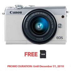 CANON EOS M100 WHITE WITH 15-45MM LENS [FREE FROM DECEMBER 10-16,2018 VSGO DDA-3 MOLINE AIR BLOWER]