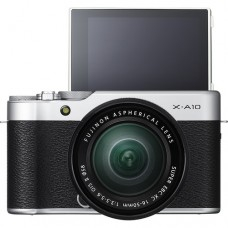 Fujifilm X-A10 with 16-50mm - Silver (KIT) [ONLINE PRICE] [with BATTERY,  FREE SD CARD, CLEANING WIPES  & CASE BAG]