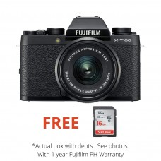 FUJIFILM X-T100 15-45MM KIT BLACK [BRAND NEW, DENTED BOX]