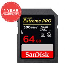 SANDISK EXTREME PRO 64GB 300MB/S SDXC UHS-II CARD (S)
