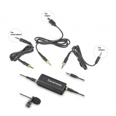 SARAMONIC PREMIUM LAVALIER MICROPHONE W/ 2-CH AUDIO MIXER AND OUTPUTS